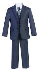 Magen Kids Boys Formal Bridal 5 Pcs Set Suit Size 2-18 Charcoal 2 Buttons 30A