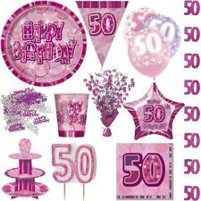 50. Cumpleaños Rosa Decoración de Fiesta Mujer Platos Desechables Set
