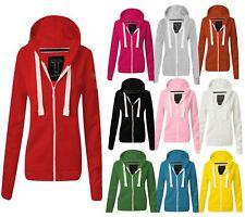 Womens Hoodie Hoody Plain Jumper Ladies Fleece Casual Sweater Sweatshirt Size
