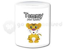 Personalised Ceramic Money Box- Tiger Cub Design