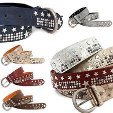 Nietengürtel Damen Gürtel Nieten Sterne Vintage Belt Stars Glitzer Metallic Look