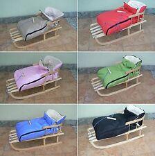 Holzschlitten mit Rückenlehne mit Winterfußsack 10 Farben Schlitten aus Holz
