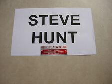 SH02 JAGUAR XK140 MK7 MK1 Lucas DR1 Essuie-Glace Moteur Rouge Lable Vitesse 2 Steve Hunt