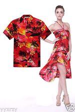 Couple Matching Shirt Dress Outfit Hawaiian Cruise Valentine Wedding Sunset Red