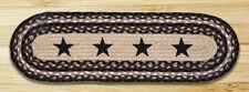 BRAIDED JUTE STAIR TREAD SETS. OVAL COUNTRY STAIR TREADS. BLACK STARS/BLACK/TAN