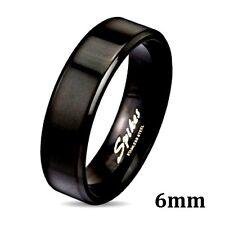 Stainless Steel Black Plated Wedding Band Flat Beveled Edge 6mm