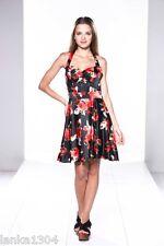 "Izabel Red Floral Satin Halter Neck Flared Party Dress (NEW) Bust 34"", Waist 28"""