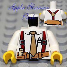 NEW Lego City Worker Male MINIFIG TORSO -White Shirt w/Tan Tie & Miner Tool Belt
