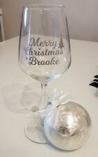 Personalizzata BUON NATALE adesivo vinile per il vino in vetro glitter/tree bauble