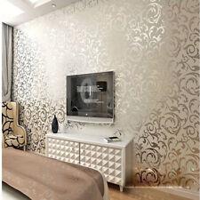 6.2M High-grade Flocking Wallpaper Roll Silver&gray Bedroom Living Room Wallpape