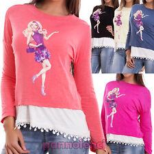Suéter mujer camiseta doble encaje manga larga camiseta muñeca nueva CJ-1972