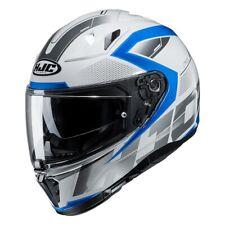 hjc i 70 asto grafica lucido casco integrale bianco blu metal + pinlok