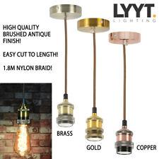 Vintage Decorative Metal Pendant Ceiling Rose Lamp Bulb Holder Brass/Copper/Gold