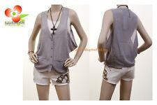 Gray V-Neckline Faux Silk Chiffon Cotton Knit Loose Fit Vest Blouse Top S M L