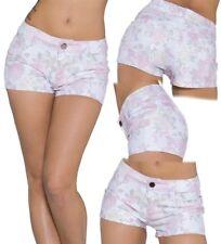 SeXy Damen Girly Hüft Hot Pant Shorts kurz Hose Panty M 36 L 38 weiß rosa Blumen