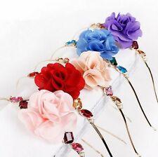 Elegante diadema flor pedrería boda tiara niños pelo joyas 5 colores nuevo