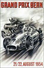 Grand Prix 1954 Bern Switzerland Vintage Poster Print Retro Style Car Racing Art