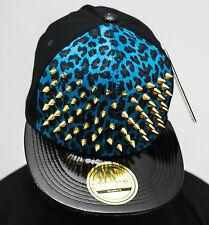 Bling stud snapback caps, blue leopard velvet flat peak hats premium gold dope