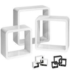 3er Set Wandregal Hängeregal Regalwürfel Cube Lounge CD Bücher Regal Holz retro