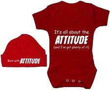 Attitude...Babygrow Bodysuit Romper T-Shirt & Hat Cap Newborn-12M Boy Girl Gift