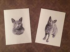 Set of 12 Handmade Blank Gray Cat Print Note Cards