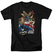 "Justice League of America Starburst ""Black"" T-Shirt DC Comics Sizes S-3X NEW"