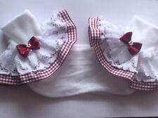 Handmade burgundy gingham school girls frilly socks