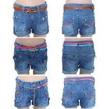 Mädchen Hot Pants Hotpants Jeans kurze Kinder Hose mit Gürtel Shorts Panty