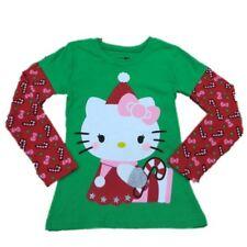 Hello Kitty Girls Green Holiday T-Shirt Candy Cane Christmas Tee Shirt