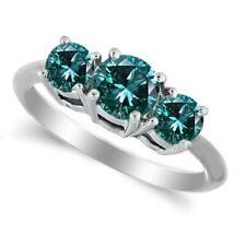 1 Carat SI1 Blue Diamond Three Stone Ring 14K Yellow Gold or 14K White Gold
