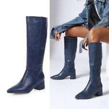 Women's Mid Calf Boots Snakeskin Print Chunky Heel Pointy Toe Biker Shoes 34-47