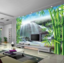 3D Mega Bamboos And Waterfall 418 Wall Paper Wall Print Decal Wall AJ Wall Paper