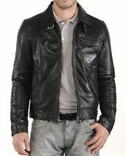 Men's Leather Jacket Biker Motorcycle Coat Black Slim Fit Outwear Jackets - 5