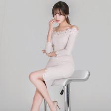 Elegante vestito abito corto bianco spacco tubino maniche lunghe comodo 3392
