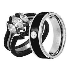 His Hers 4 Piece Wedding Ring Set AAA CZ Black IP Stainless Steel & Titanium LR
