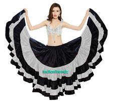 Black / Silver Satin 25 Yard 5 Tiered Gypsy Skirt Belly Dance Gothic Flamenco