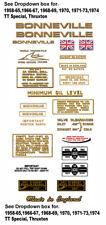 1958-74: Bonneville T120 -RESTORERS DECAL SETS- Triumph Bonneville Decals