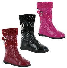 RSB Shiny Patent Girls Mid Calf Zip Up Flat Fashion flat Childrens Boots UK 5-12