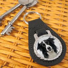 Border Collie Dog Bonded Leather Key-fob/Metal Keyring