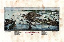 28 Cedar Key Florida vintage historic antique map painting poster print