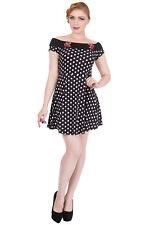 Vestido de fiesta prohibido reverly 1950s Vintage Cereza Rockabilly Mini Bardot UK 8-16