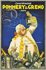 PLAQUE ALU DECO AFFICHE CHAMPAGNE POMMERY ET GRENO REIMS BOUTEILLE ALCOOL