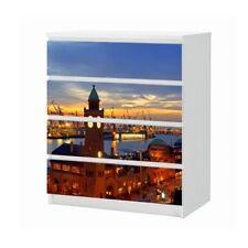 Set Möbelaufkleber für Ikea Kommode MALM 4 Fächer Hamburg Hafen Folie 25B1880