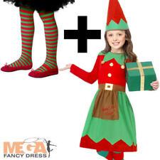 Elf Santas Little Helper Girls  Fancy Dress Christmas Party Kids Childs Costume