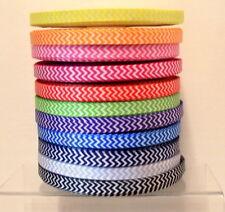 Chevron Zig Zag Printed Grosgrain Ribbon 10mm wide 1 2 or 5m lengths 11 Colours