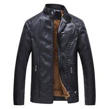 2018 New Mens Winter Fleece Lined Leather Jacket Biker Coat Warm Outwear L-6XL