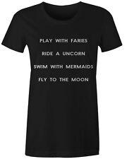 Play RIDE Swim FLY Da Donna T-shirt Tumblr Divertente Hipster slogan TOP TEE