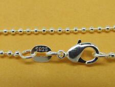 1mm BALL CATENA 925 stamped sterling silver bead COLLANA CIONDOLO 16-30 POLLICI B