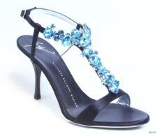 new $1195 Giuseppe ZANOTTI black satin BLUE JEWELED T-strap heels shoes - dressy
