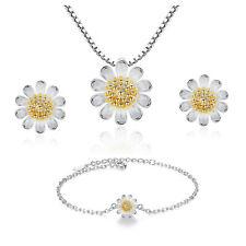 Jewellery 925 Sterling Silver Little Daisy Pendant Necklace Earrings Bracelets